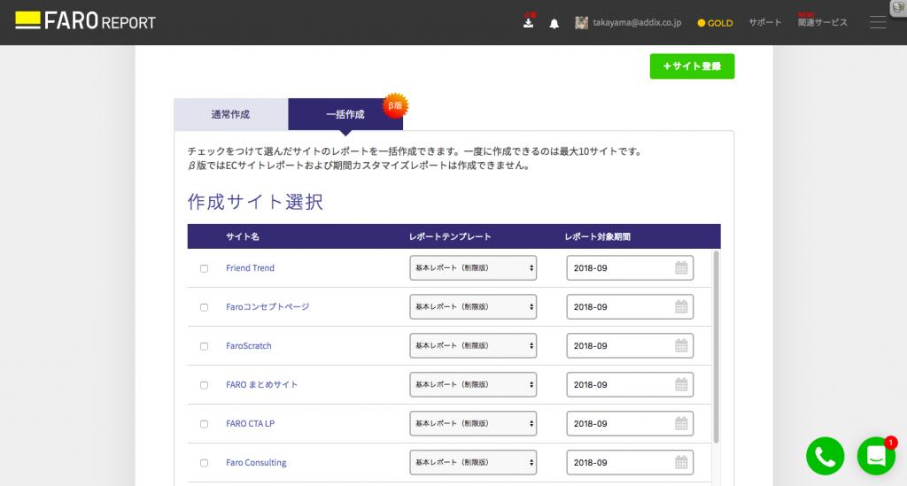 複数のWebサイトをレポート作成対象として登録している場合に、最大10サイトまでのレポートを一括作成できるようになりました(一括作成機能)。